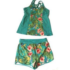 D & Co. Swim - D & Co. Floral Two-Piece Tankini Shorts Swimsuit